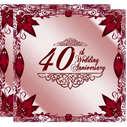 Invitaci 243 N Del Aniversario De Boda Del Rub 237 40 O Zazzle Es