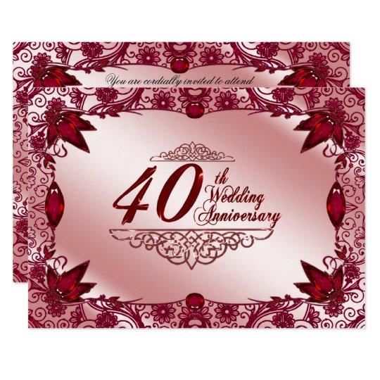 Invitación Del Aniversario De Boda Del Rubí 40 O