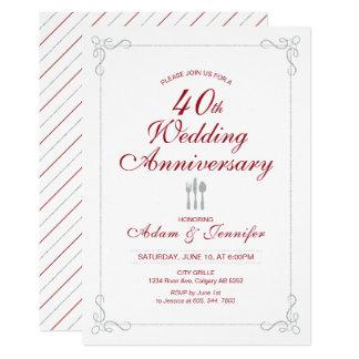 Invitación del aniversario de boda del rubí y de