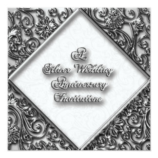 Invitación del aniversario de bodas de plata invitación 13,3 cm x 13,3cm