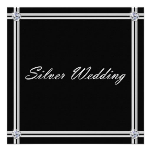 Invitación del aniversario de bodas de plata con e