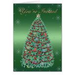 Invitación del árbol de navidad felicitaciones