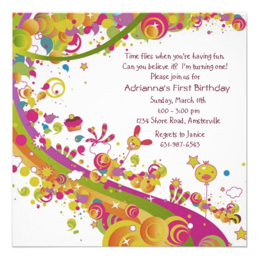 Invitación del arco iris del cumpleaños