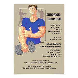Invitación del azul del hombre del músculo
