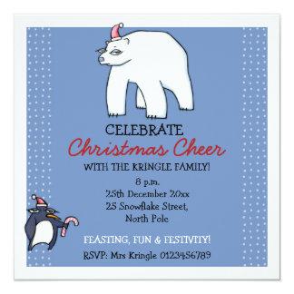 Invitación del azul del navidad del oso polar