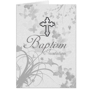Invitación del bautismo con Butterflie cruzado y Tarjeta De Felicitación