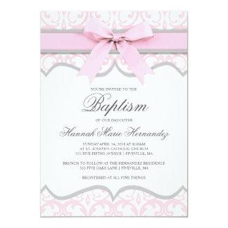 Invitación del bautismo de la cinta del rosa del