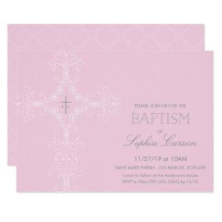Invitación del bautismo de la niña y cruz elegante