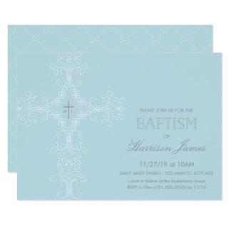 Invitación del bautismo del bebé con la cruz,