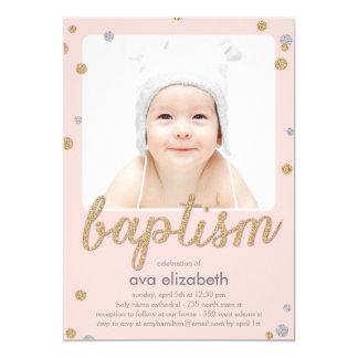 Invitación del bautismo del confeti de la invitación 12,7 x 17,8 cm