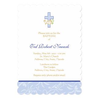 Invitación del bautismo del muchacho azul de la