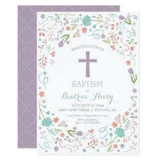 Invitación del bautismo - personalizar, flores,