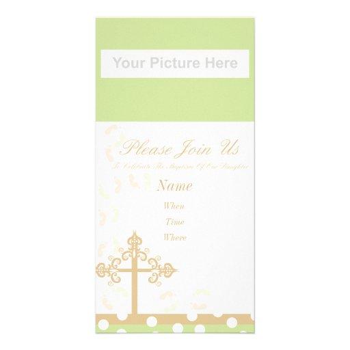 invitación del bautismo tarjeta fotográfica