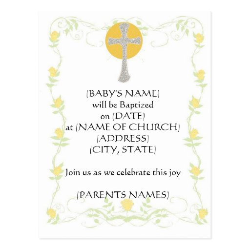 Invitación del bautismo tarjetas postales