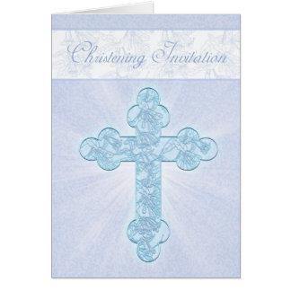 Invitación del bautizo con la cruz azul felicitación