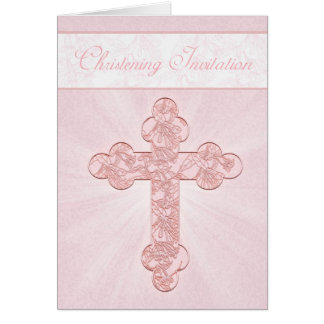 Invitación del bautizo con la cruz rosada felicitaciones