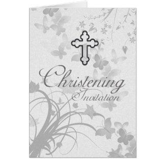 Invitación del bautizo con mantequilla cruzada y tarjeta de felicitación