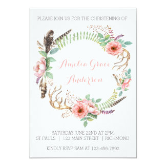 Invitación del bautizo de los chicas - floral