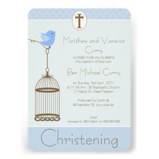 Invitación del bautizo del bautismo del Birdcage d