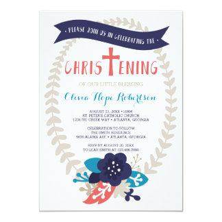 Invitación del bautizo, floral, contemporánea