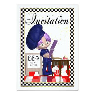 Invitación del Bbq - cocinero - le invitan Invitación 12,7 X 17,8 Cm