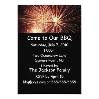 Invitación del Bbq de los fuegos artificiales