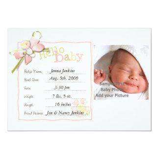 Invitación del bebé de la niña recién nacida invitación 12,7 x 17,8 cm