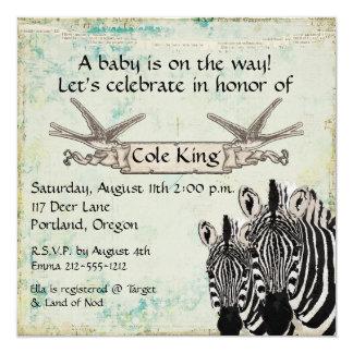 Invitación del bebé de las cebras del vintage