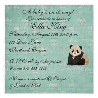 Invitación del bebé de los osos de panda invitación 13,3 cm x 13,3cm