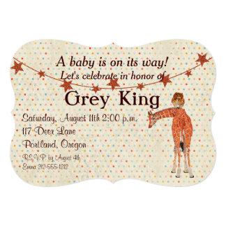 Invitación del bebé de Polkadot de la jirafa y del