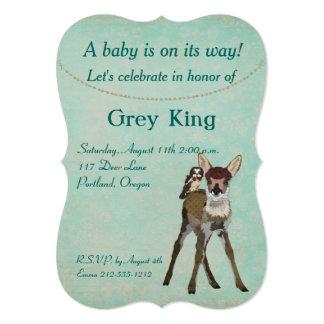 Invitación del bebé del cervatillo y del búho invitación 12,7 x 17,8 cm