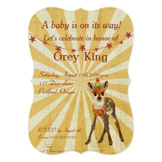 Invitación del bebé del cervatillo y del pájaro invitación 12,7 x 17,8 cm