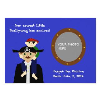Invitación del bebé del pirata invitación 12,7 x 17,8 cm