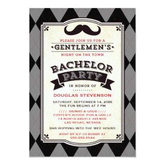 Invitación del bigote y de la despedida de soltero invitación 12,7 x 17,8 cm
