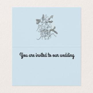 Invitación del boda, azul de la tarjeta del doblez