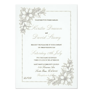 Invitación del boda con las decoraciones adornadas invitación 13,9 x 19,0 cm