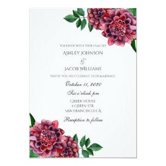 Invitación del boda de Borgoña floral. Las dalias