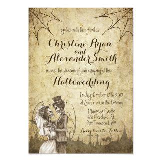 Invitación del boda de Halloween con los pares