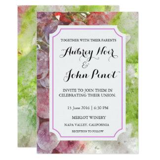 Tarjeta Invitación del boda de la acuarela del lagar o del