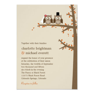 Invitación del boda de la caída de los búhos del invitación 12,7 x 17,8 cm