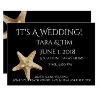 Invitación del boda de la escena de la playa