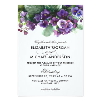 Invitación del boda de la flor de la viola