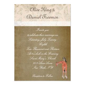 Invitación del boda de la jirafa y del búho