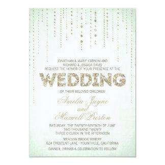 Invitación del boda de la mirada del brillo del invitación 12,7 x 17,8 cm