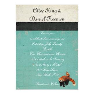 Invitación del boda de la panda roja y del búho