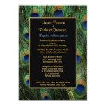 Invitación del boda de la pluma del pavo real invitación 12,7 x 17,8 cm