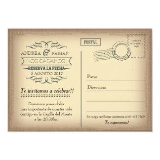 Invitación del boda de la postal con la foto en