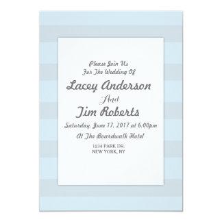 Invitación del boda de la raya de azules cielos