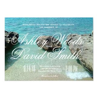 Invitación del boda de la roca de la playa