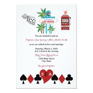 Invitación del boda de la suerte de Las Vegas Invitación 12,7 X 17,8 Cm